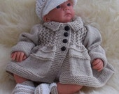 Baby Knitting Pattern - Download PDF Knitting Pattern - Baby Boys - Reborn Dolls - Sweater, Hat and Shoes by Precious Newborn Knits