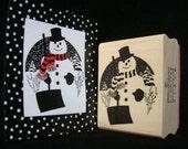 snowman rubber stamp