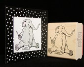 writing elephant rubber stamp