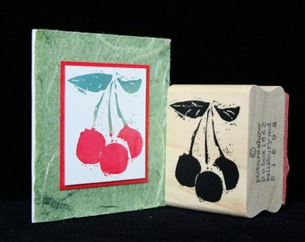 cherries rubber stamp