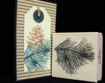 """picture show rubber stamp, """"pine branch"""""""