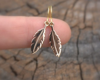 Tiny Feather Earrings - Tiny Feather Charms . Available in Bronze, Sterling Silver & Gold Dipped Bronze. Native American