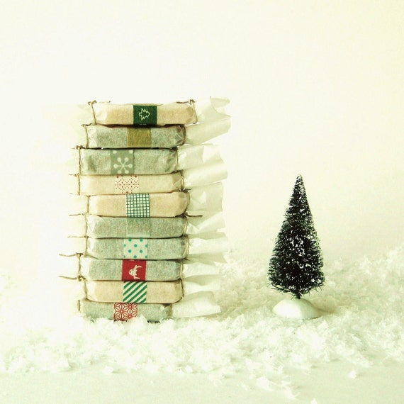 Christmas Edition - 10 Assorted Wrapped Handmade Soap Favors - Vegan Cold Process Soap made with Organic Ingredients