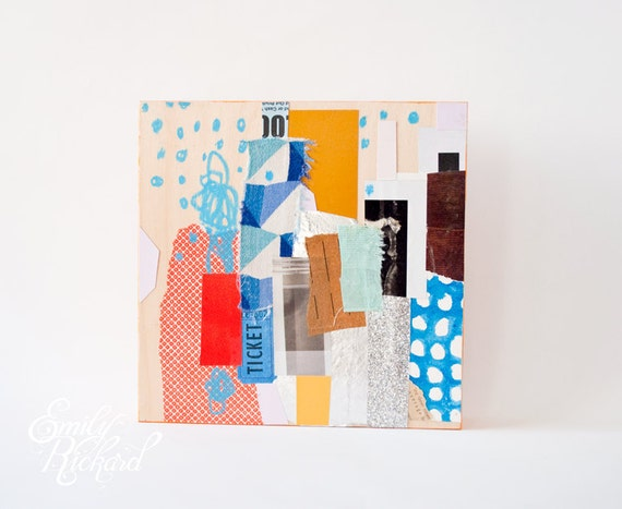 Cityscape I, Original Abstract Collage on Wood
