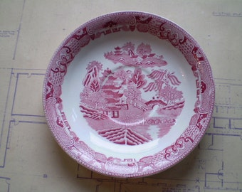 Antique Transferware Plate - B. A. P. y C y Ltd - Made in Great Britain - Willow Ware pattern - Red Pink - Circa 1900