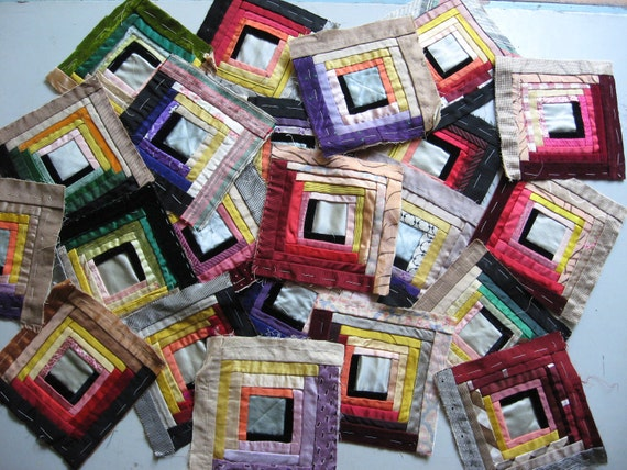 Log Cabin Quilting Blocks 1930s 1940s HANDSEWN antique One of A Kind