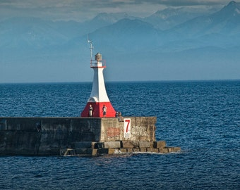 Lighthead the the end of the Pier in the Harbor at Victoria on Vancouver Island British Columbia A Seascape Lighthouse Photograph