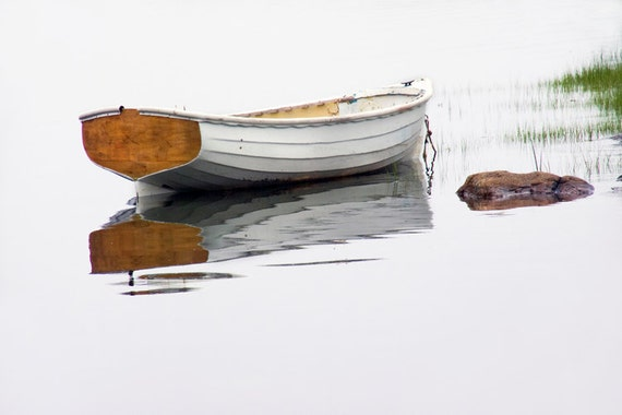White Maine Dory Wooden Row Boat on a Foggy Morning by the Mt. Desert Narrows on Mount Desert Island No.22 A Nautical Seascape Photograph