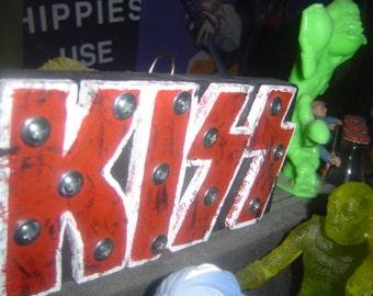 KISS, rock logo, wall art, wooden sign, rock n roll, woodart, rock music, Gene Simmons, Kiss logo, wood art, Made To Order