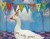 Goose Party - Birthday Greeting Card - Paper Goods - Blank - Silly Goose - Playful Fun Celebration Funny Humorous Humor White Geese
