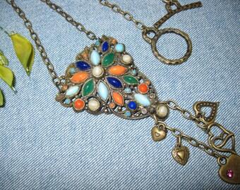 Vintage Repurposed Jeweled Shoe Clip - Pendant - Bronze
