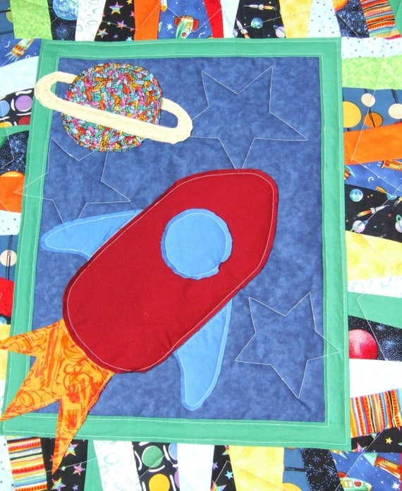 Items similar to rocket ship in outer space baby quilt on etsy for Outer space quilt