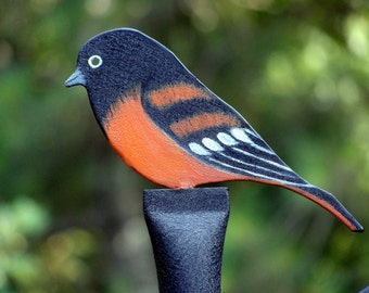 ORIOLE FINIAL: Hand Painted Baltimore Oriole Finial For Bird Feeder Poles