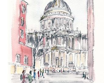 St Paul's Cathedral - fine art print from an original watercolor