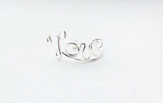 Ear Cuff Silver Love Wire Ear Wrap