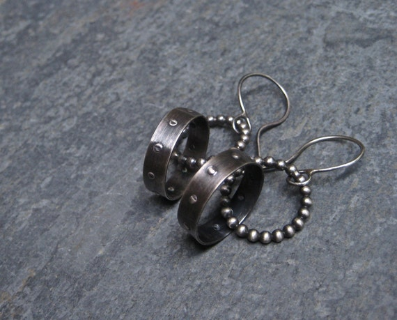 Sterling Silver Hoop Earrings/ Silver Dangle Earrings/ Mixed Metal Jewelry