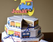 Train Birthday Party FAVOR BOX CAKE with 3-D Cake Topper - Custom Name/Age - 24 boxes