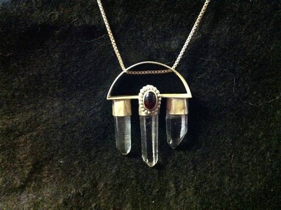 Quartz Crystal and Red Garnet modern pendant