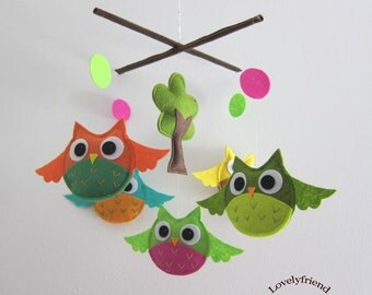 Baby Crib Mobile - Baby Nursery Mobile - Rainbow Owls Playing With Funny Colorful Circles (Custom Color Available)