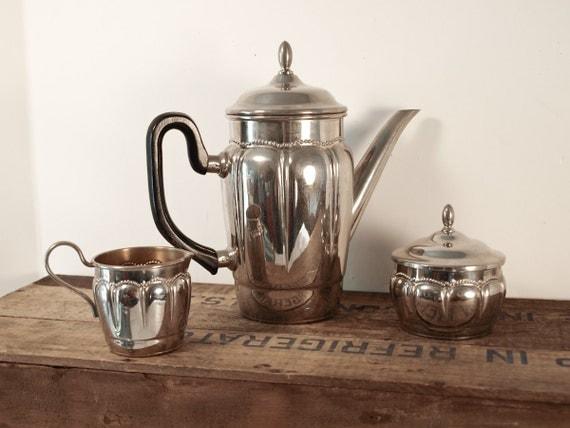 Art Deco Tea Pot Set , with Chrome Metal Creamer and Sugar Bowl