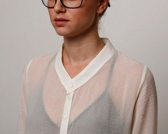 white sheer blouse, white shirt, button down blouse, white top, white summer top, button down white top, loose fit blouse, 3/4 sleeve length