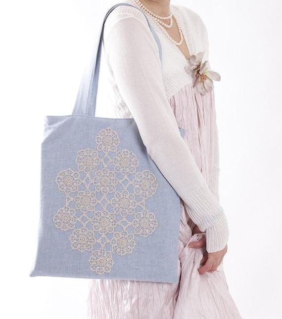 Bag Cotton blue tote vintage lace