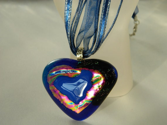 Hearts within Hearts Fused glass dichroic pendant necklace