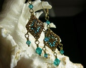 Peacock Teal Blue Green Crystal Dangle Victorian Earrings, Antiqued Gold Bronze Filigree, Titanic Temptations Vintage Steampunk Bridal Style