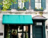 Charleston Photography - Teal Decor - Southern Home Decor - South Carolina Photo Architecture Print  Windows Photo Doors Photography