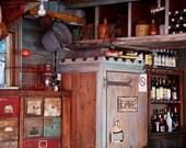 Man Cave Art - Rustic Bar Decor - Restaurant Print - Aqua Red Brown - Wine and Liquor Bottles - Cave Sign - Photography for Men - Rich Color
