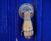 Blue Door Print - Santorini Greece Photography Cobalt Home Decor Gold Hand Door Knocker Photo Engagement Gift Mediterranean Wall Art