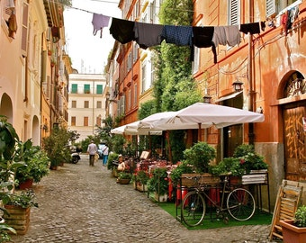 Trastevere Rome Photography - Italy Photograph Print - Roman Trattoria - Italian Laundry Bicycle Orange Decor Kitchen Wall Art
