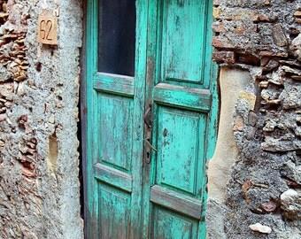 Farmhouse Decor - Turquoise Wall Decor Turquoise Door Print Door Photography Sicily Italy Photography Door Photo  Rustic Photography
