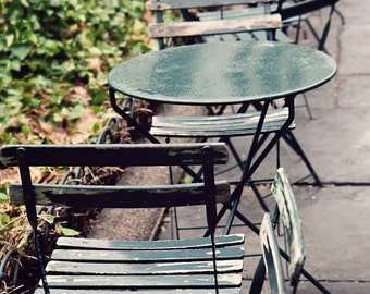 New York City Photography - Bryant Park Photo - NYC Photography Rainy Day Print Emerald Green Home Decor Cafe Tables Urban Wall Art