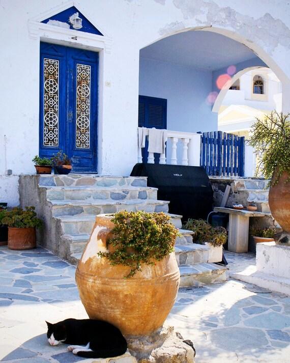 Greece Photography - Santorini Photograph - Black Cat Print Blue White Decor Greek Wall Art Travel Photo Rustic Mediterranean Decor