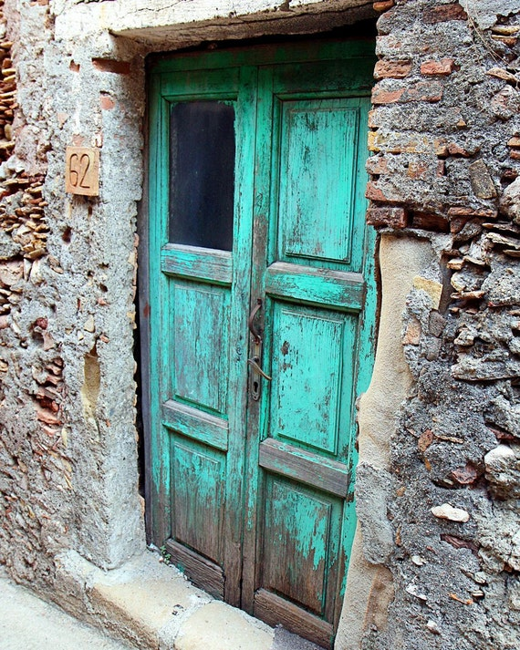 Farmhouse Decor - Turquoise Wall Decor Turquoise Door Print Door Photography Sicily Italy Photography Door Photo  Rustic Photography