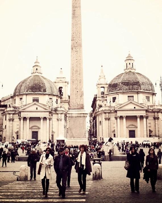 Italian Photography - Rome Italy Photograph - Piazza del Popolo Photo - Vintage Inspired City Print Urban Neutral Print Street Scene