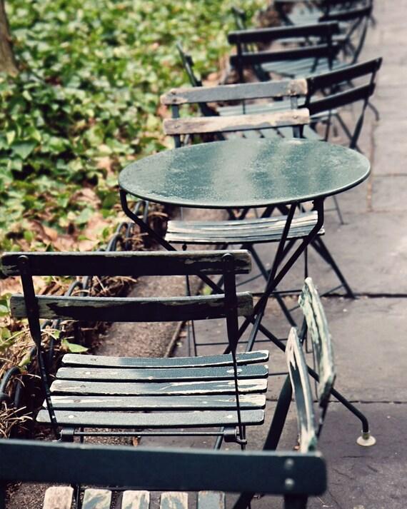New York City Photography - Bryant Park Photo - NYC Photography Rainy Day Print Emerald Green Home Decor Cafe Tables Urban Wall Art