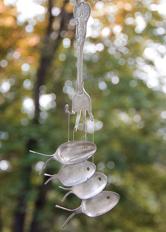 Unique gardens spoon fish wind chimes musical gift music for Fish wind chimes