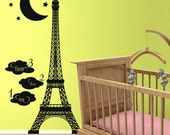 Vinyl Wall Decal Sticker Art -Eiffel Tower Growth Chart - Nursery or Childs room Mural