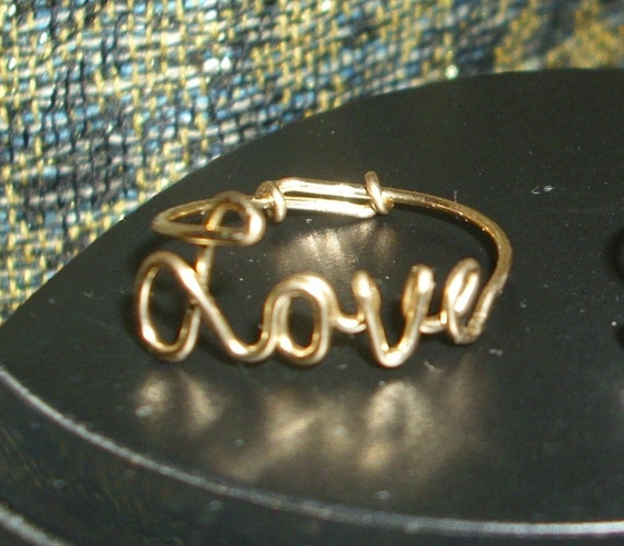 Gold Love Ring, 14kt gold filled wire Love Ring, adjustable, any style of cursive script, BEST PRICE on Etsy