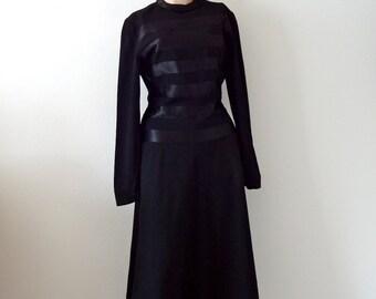 1940s Black Wool Party Dress with Satin Stripes / vintage film noir