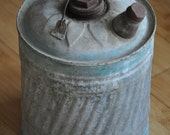 Vintage Gas Can Galvanized Blue Daisy Rusty Rustic Industrial Decor Cottage Chic