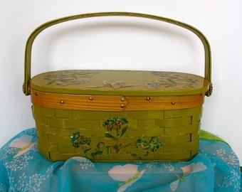 Vintage 60s Basket Purse Green Basket Wood Top Handle w Decoupage Flowers