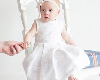 White flower girl dress - White christening linen girl dress - Beach weddings Infant dress sizes 0.5-5 years
