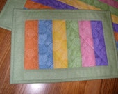 Quilted STRIPED TABLE RUNNER and Snack Mat done in pastel rainbow colors