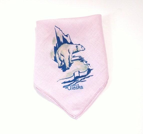 Vintage Alaska State Handkerchief Souvenir Polar Bear Hankie Hanky Mauve Lilac Thistle Orchid Purple Color