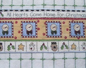 HEARTS COME HOME For Christmas 2 Snowman Kitchen Dish Towels