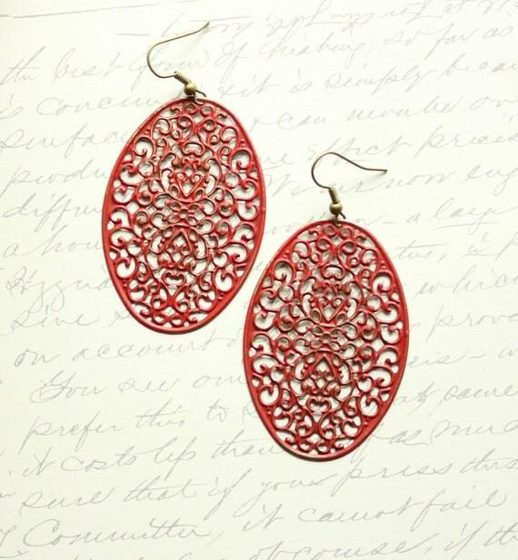 RESERVED FOR SARAH ....Patina Earrings, Dangle Rusty Red, Filigree Earrings, Patina Jewelry, Oval, Long Earrings, Boho, Brick