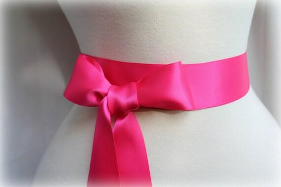 Fushia Hot Pink Satin Sash Belt - Double Faced Satin Ribbon Sash - Wedding Gift - Bridal Bridesmaids Flower girl Sashes - Many Colors